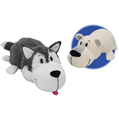 FlipaZoo The 16 Inch Pillow with 2 Sides of Fun for Everyone - Each Huggable FlipaZoo character is Two Wonderful Collectibles in One (Husky Dog / Polar Bear): Toys & Games
