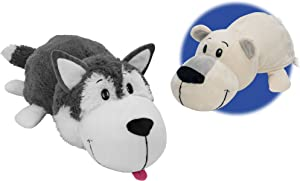 FlipaZoo The 16 Inch Pillow with 2 Sides of Fun for Everyone - Each Huggable FlipaZoo character is Two Wonderful Collectibles in One (Husky Dog / Polar Bear)