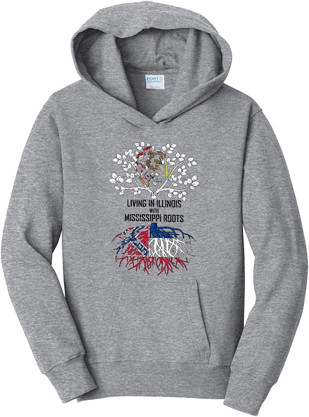Tenacitee Girls Living in Illinois with Mississippi Roots Hooded Sweatshirt