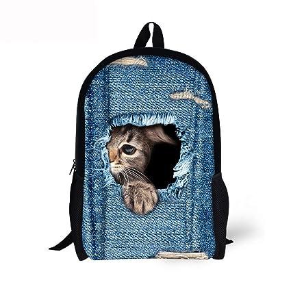 Mochilas Escolares Juveniles Unisex, 💕 Zolimx 3D Lindo Huella Animal Gato Perro Mochila Estudiante Escuela