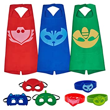 MIJOYEE PJ Masks Costumes For Kids Catboy Owlette Gekko Mask Cape Bracelet