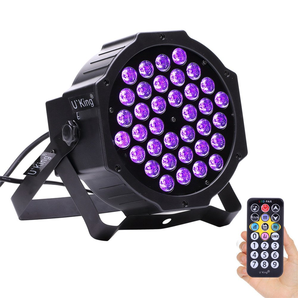U`King Black Lights 36LEDs x 3W UV Bar by DMX IR Remote Control and Sound Activated for Party DJ Stage Lighting (36par lights) ZQ-B213B-YK2-CA