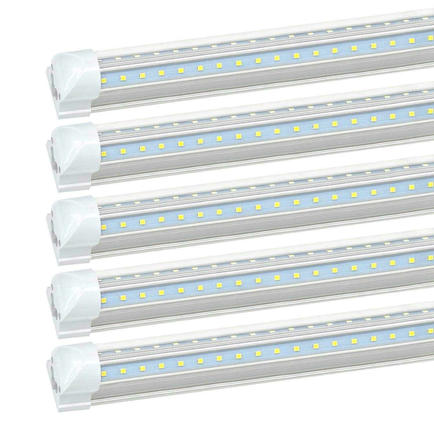 8FT LED Shop Light Fixture - 72W 7200LM, 5000K Daylight, JESLED T8 Integrated V Shape Strip Tube Lights, High Output Bulbs for Garage Warehouse Workshop, with On/Off Switch, Plug and Play (20-Pack)