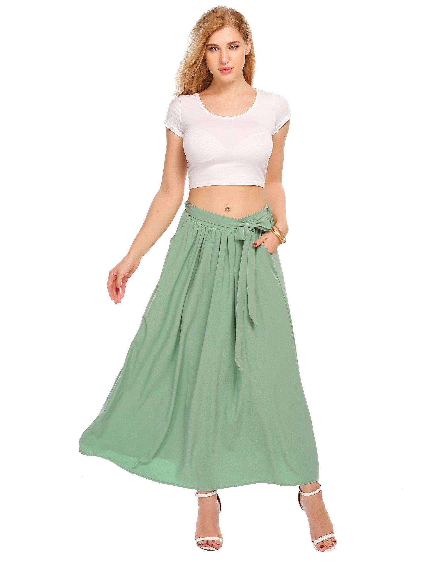 Zeagoo Women's High Waist Flared A-line Pleated Midi Long Skirt with Pocket S-XL