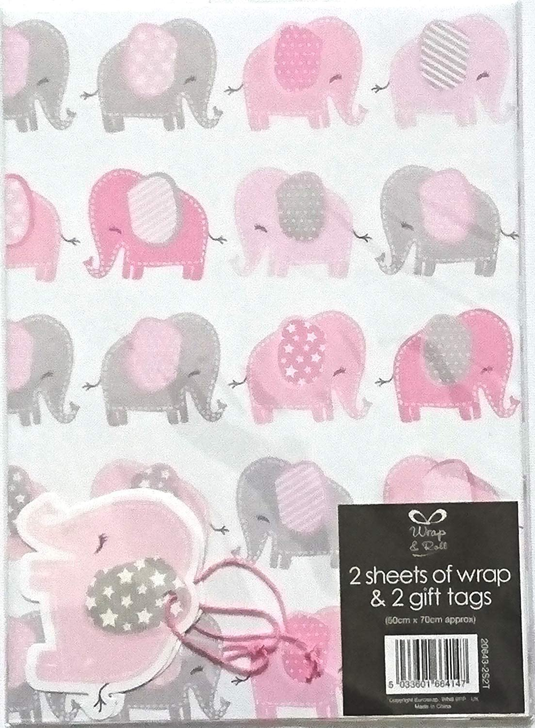 SIMON ELVIN BABY GIRL WRAPPING PAPER 2 SHEETS OF GIFT WRAP /& ONE TAG SE2595