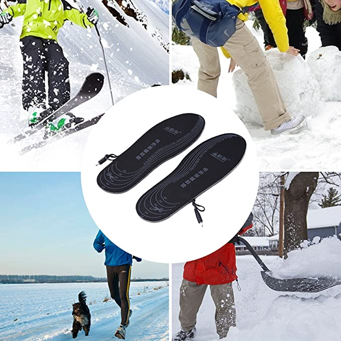 le ski 35-40 lavables le travail pour les aventures dhiver comme la chasse Aiboria Semelles chauffantes rechargeables par USB pour hommes et femmes