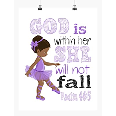 African American Ballerina in Purple Inspirational Nursery Decor Print - She will not fall Psalm 46:5: Handmade
