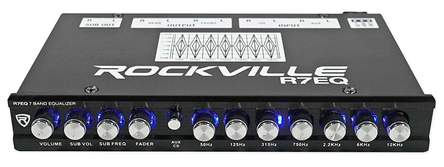 Rockville R7eq 1 2 Din 7 Band Car Audio Equalizer Eq W Wet Sounds Wiring Diagram Front Rear Sub Output Cell Phones Accessories