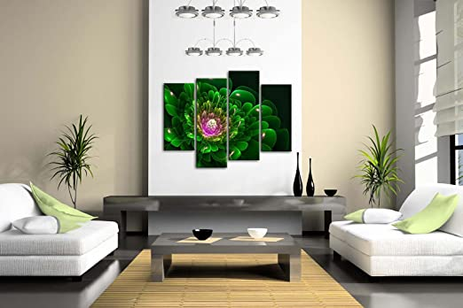 Artistic Green Flower Pink Wall Art Painting Pictures Print On Canvas