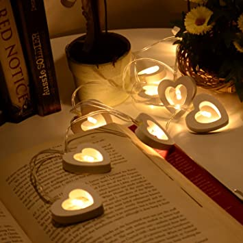10 20 LED Heart Shape LED Wooden String Fairy Lights Wedding Party Decoration UK