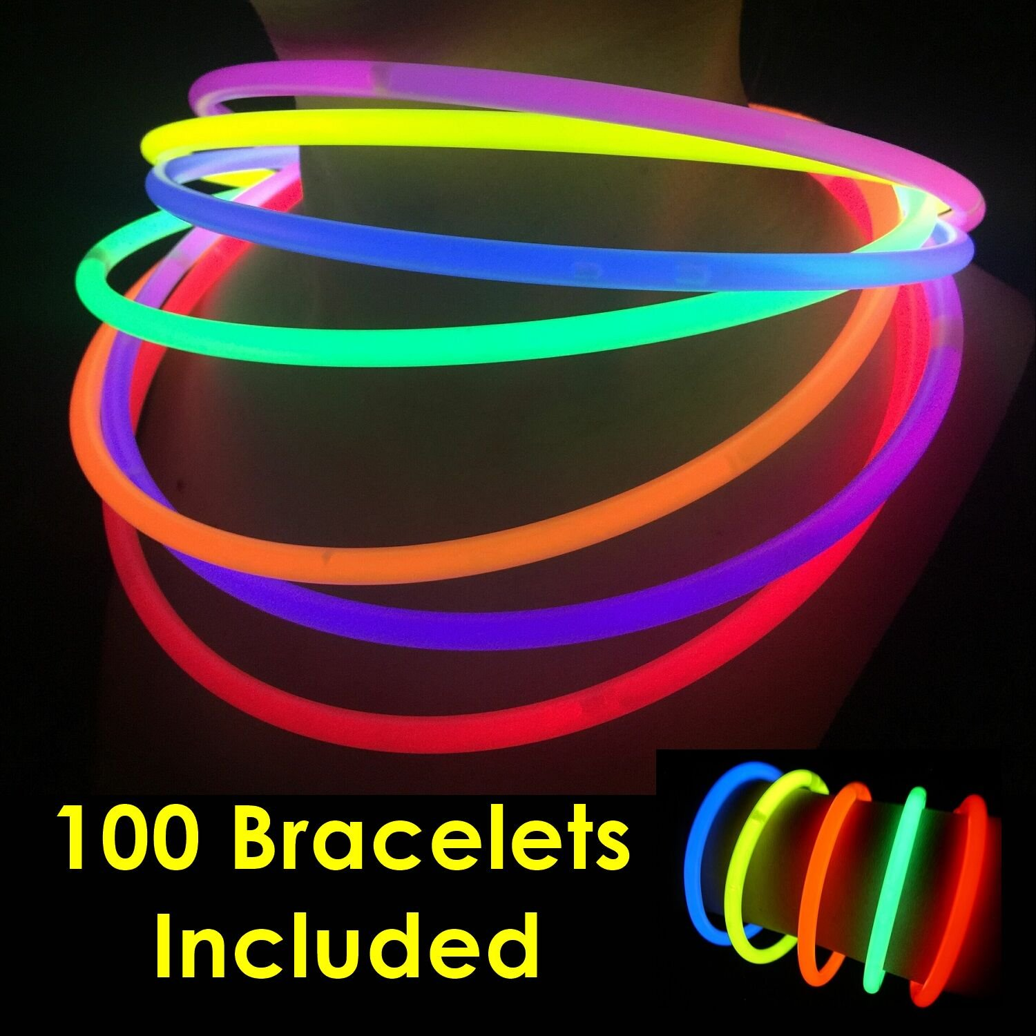 Glow Sticks Bulk Wholesale Necklaces, 100 22'' Glow Stick Necklaces+100 FREE Glow Bracelets! Bright Colors Glow 8-12 Hr, Connector Pre-attached(handy), Glow-in-the-dark Party Supplies, GlowWithUs Brand