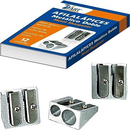 Dohe 79456 - Afilalápiz-sacapuntas metálico doble, pack con 12 unidades: Amazon.es: Oficina y papelería