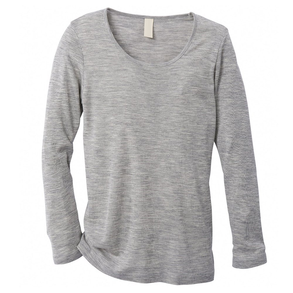 EcoAble Apparel Women's Thermal Shirt For Layering, 70% Organic Merino Wool 30% Silk (38-40/Small, Grey)