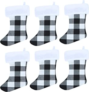 Christmas Stockings,Felt Large Plush 3D Reindeer Snowman Design Hanging Bags, Socks - Holiday Girls Boys Gift Party Decorations for Decor Xmas Tree,Mantel (black and white, Large Stockings 6 Pcs)