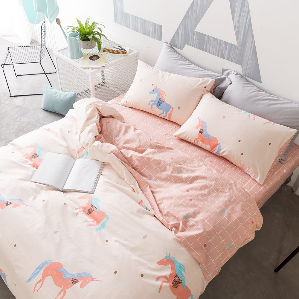 HIGHBUY Animal Print Kids Duvet Cover Sets Full Peach Pink Reversible Bedding Collections Grid Plaid Pattern 100% Cotton Queen Bedding Sets 3 Piece Teens Girls Boys,Gift Family Friends by HIGHBUY (Image #3)