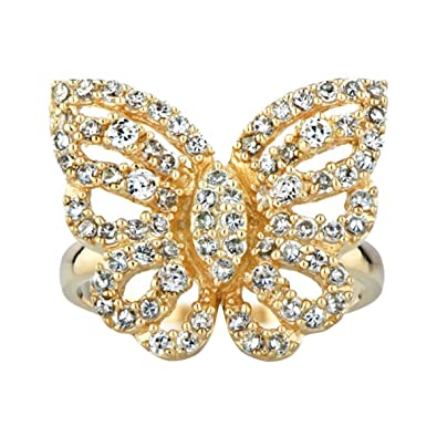 4876b271bd975 Amazon.com: Goldtone and CZ Pave Butterfly Cocktail Ring: Jewelry