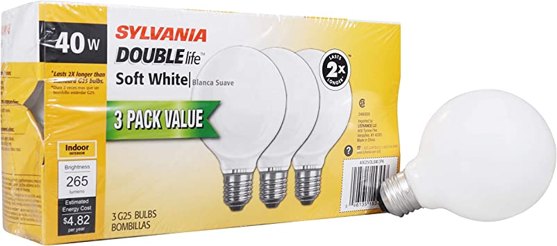 SYLVANIA Home Lighting 15345 Incandescent Bulb, G25-40W, Soft White Finish, Medium Base, Pack of 3