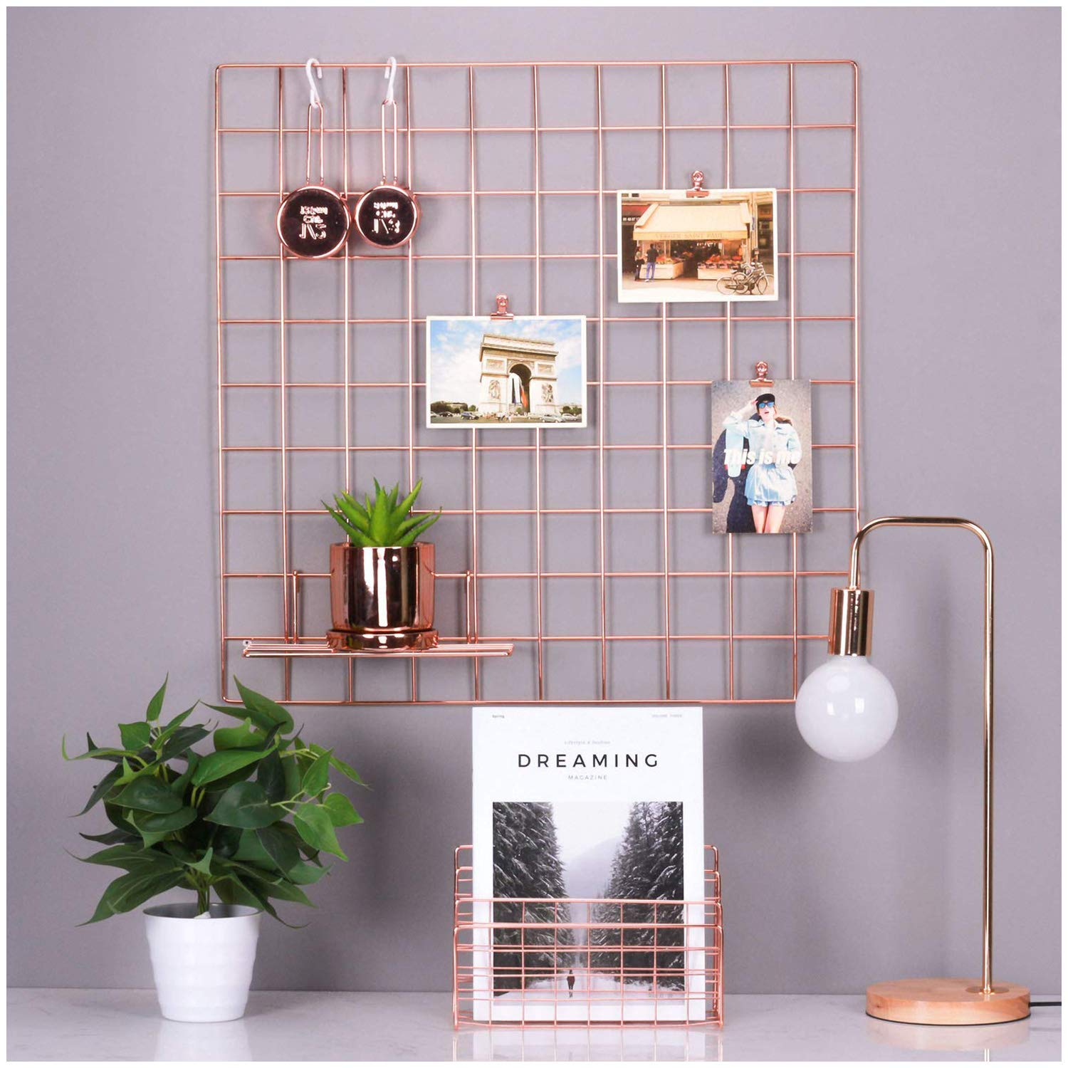 Simmer Stone Rose Gold Wall Grid Panel for Photo Hanging Display & Wall Decoration Organizer, Multi-functional Wall Storage Display Grid, 5 Clips & 4 Nails Offered, Set of 1, Size 23.6'' x 23.6'' Square