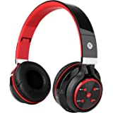 Bluetooth Headphones, KAYSN Foldable Wireless Over Ear Headphone Stereo Headset Compatible with Smartphones, Tablets, PC and Laptops (red)