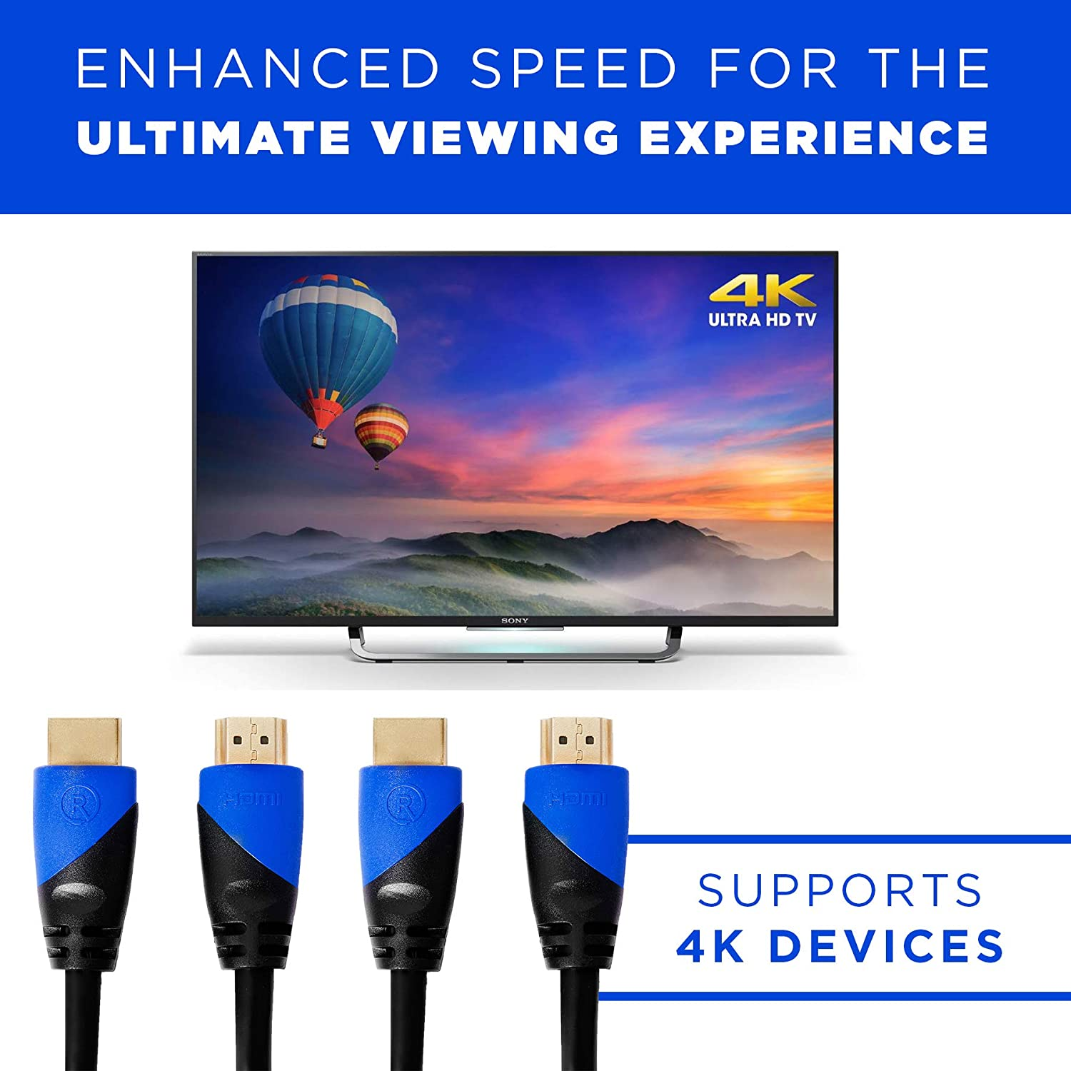 2K Ready 4K RELM High-Speed HDMI Cable Ethernet Enabled for 18 GBP Supports Master Audio Return 3 Feet Ultra High Definition HDMI Cord is 3D