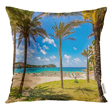 Amazon.com: UPOOS Throw Pillow Cover Blue Mallorca Beautiful ...