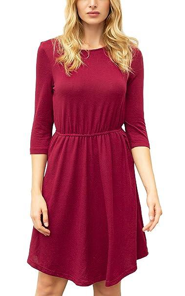 ac56a197779f8 Zevrez Women's Solid Color 3/4 Sleeve Tunic Casual Floral Round Neck  Elastic Waist Pocket