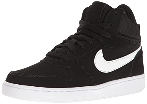 NIKE Womens Court Borough Mid Sneaker, Black/White, 6.5 B(M)