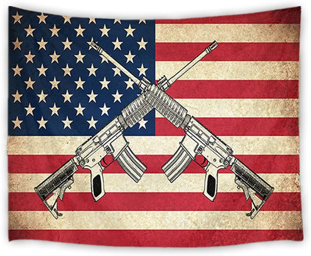 LB American Flag Tapestry Vintage The Stars and Stripes Flag with Gun Wall Hanging Western Culture Tapestries for Bedroom Living Room Dorm Party Wall Decor,60Wx40H inches