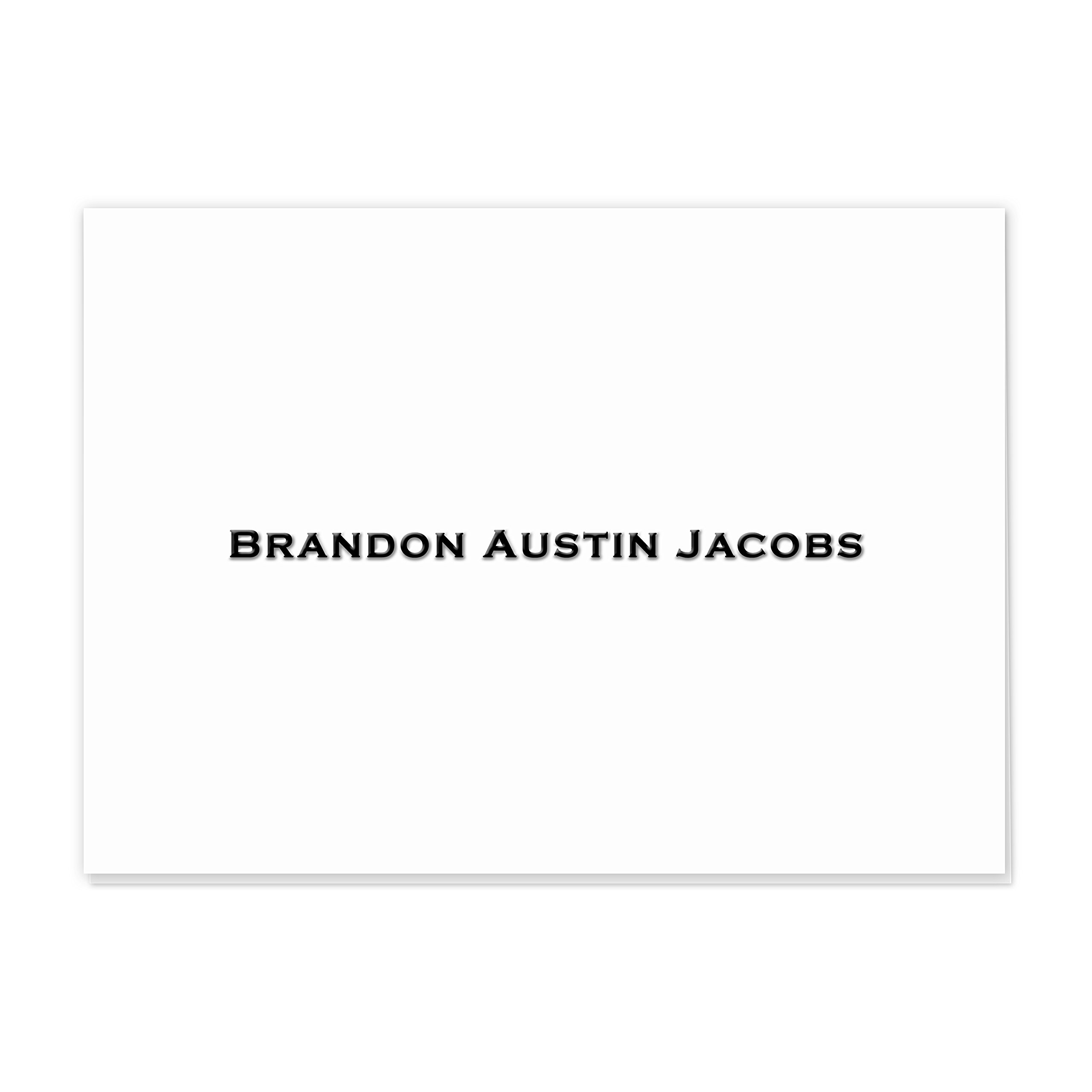 Engraved Folded Note Cards, Personalized, 4 1/4'' x 5 1/2'' , 50 Cards with 50 Matching Blank Envelopes