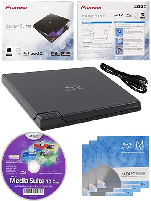 24 opinioni per Pioneer BDR-XD05 6x Slim USB 3.0 portatile BD / DVD / CD Burner con 3PK GRATIS