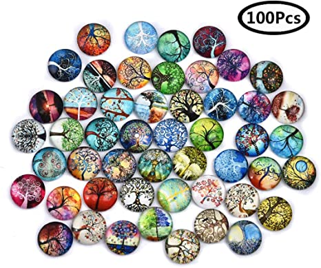8 Sizes For Choice Glass Round Camoe Cabochons Mixed Starry Sky Nebula Pattern