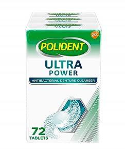 Polident Ultra Power Effervescent Denture Cleaner Tablets, Antibacterial Dental Cleaner - 72 Count (Pack of 3)