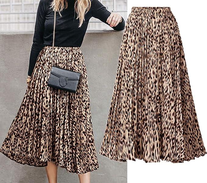 CHARTOU Womens Chic Elastic High Waisted A Line Leopard Print Pleated Shirring Midi-Long Skirt (Yellow, Medium)