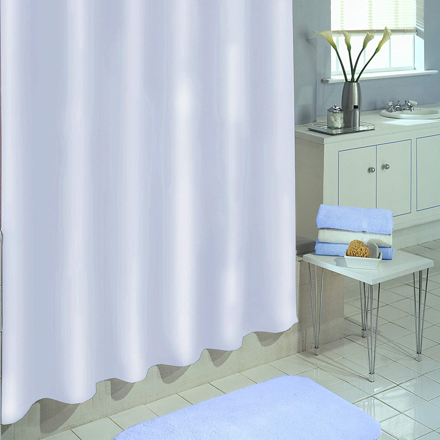 """EXCELL Vinyl Shower Curtain, Mold and Mildew-Resistant Water-Repellent Bath Liner with suction cups, 70""""x71"""", White"""