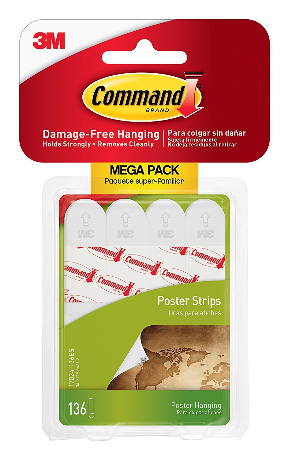 Command Poster Hanging Strips Mega-Pack, White Strips, 136-Count