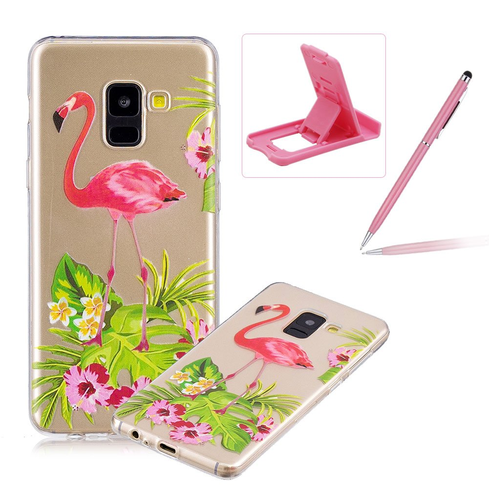 Rubber Case for Samsung Galaxy A8 2018, Herzzer Premium Stylish [Panda Bamboo Printed] Scratch Resistant Ultra Thin Soft Gel Silicone Transparent Clear Crystal Slim Fit TPU Back Cover for Samsung Galaxy A8 2018