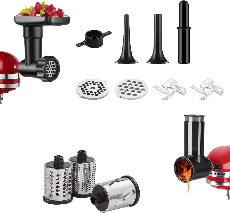 2 PCS Food Grinder & Slicer/Shredder Attachment for KitchenAid Stand Mixers, Durable Meat Grinder and Salad Slicer Maker (Black)