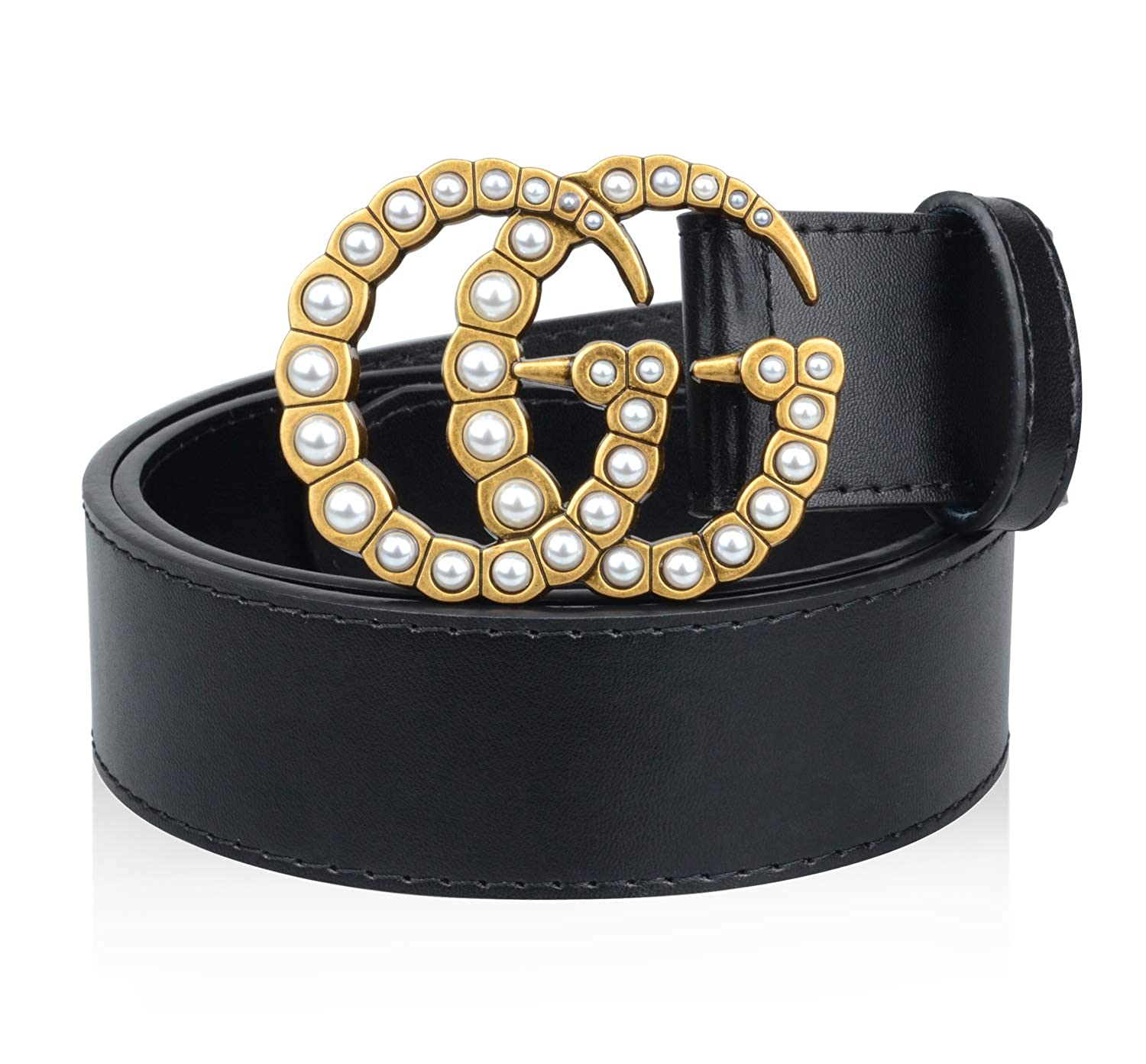 1cc52e23e GG Replica Belt for Women Gold Buckle Black Leathe Fake Replicas Mens Belts  at Amazon Women's Clothing store:
