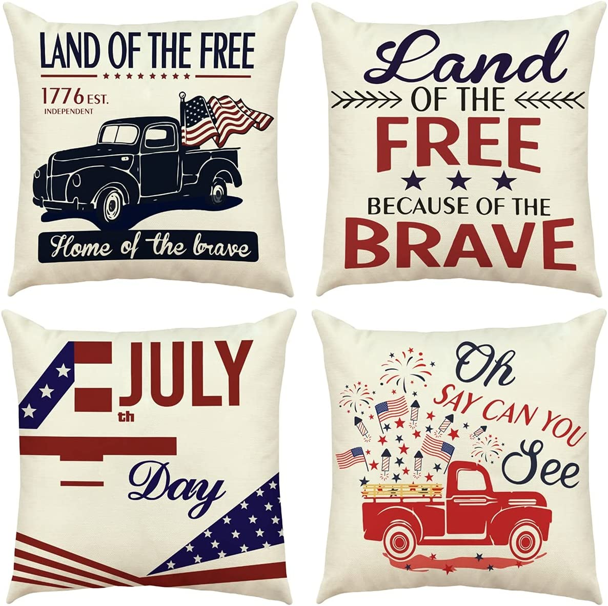 RioGree 4th of July Decorations Pillow Covers 18x18 Set of 4 for Home Decor Fourth of July Decorations Throw Pillows Cover Independence Memorial Day Patriotic Decorations Cushion Case