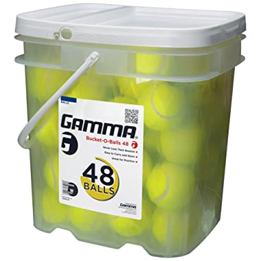 GAMMA Pressureless Tennis Ball Bucket  Case w/48 Practice Balls  Sturdy/Reusable/Portable Bucket to Replace Less Durable Tennis Mesh Bags  Ideal For All Court Types  Gamma Premium Tennis Accessories