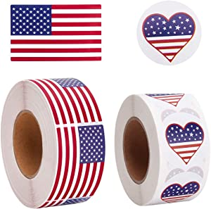 Udefineit 1000PCS US Flag Stickers, Rectangle & Heart American Flag Labels, United States USA National Flag Vinyl Decal Sticker, Patriotic USA Stickers for Election Vote Parade Speech Business Fairs
