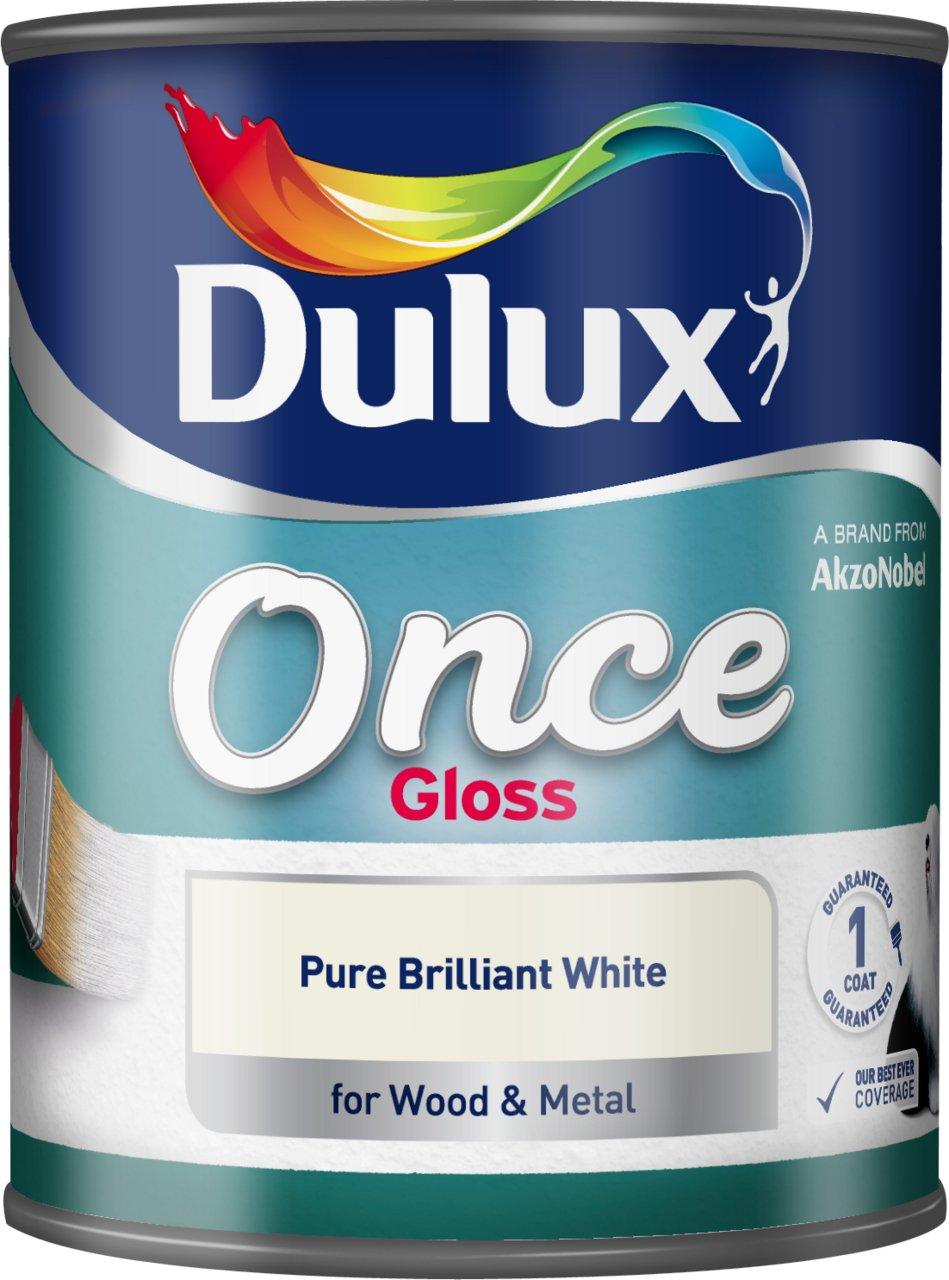 Dulux Once Satinwood, 750 ml - Pure Brilliant White AkzoNobel 750ML