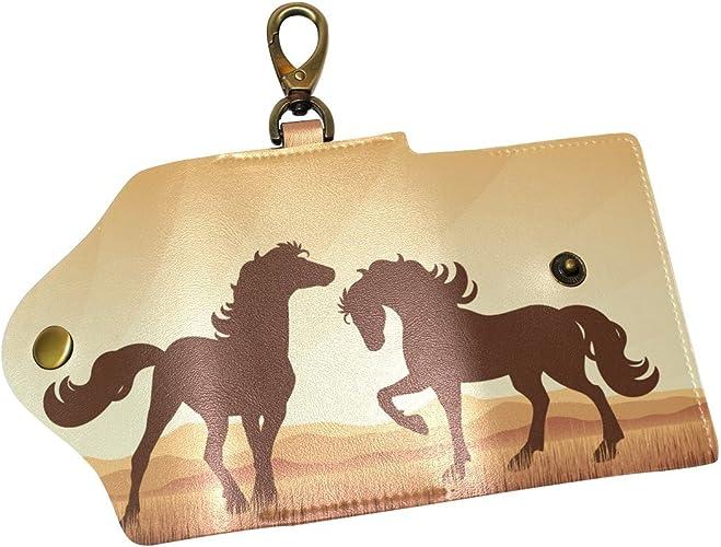 DEYYA Horses Leather Key Case Wallets Unisex Keychain Key Holder with 6 Hooks Snap Closure