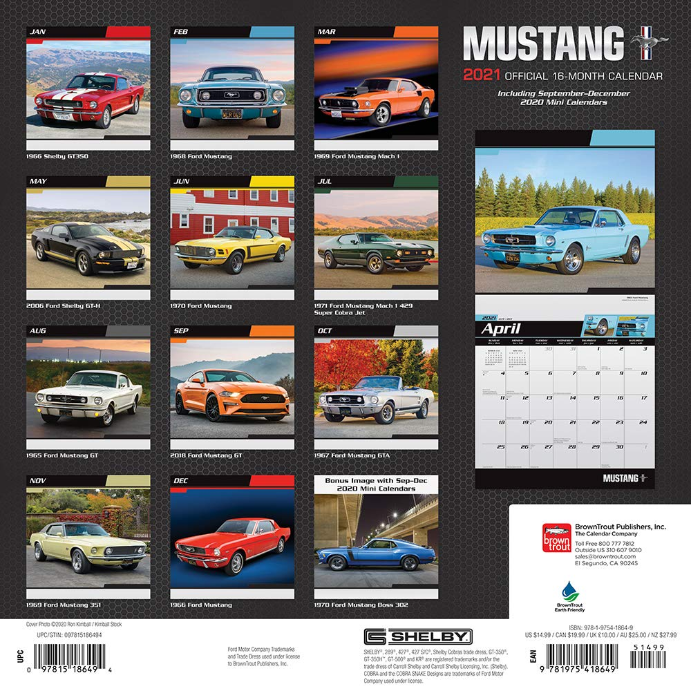 Mustang 2021 12 x 12 Inch Monthly Square Wall Calendar with Foil