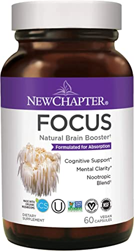Focus Supplement, New Chapter Focus Supplement with Lion s Mane Mushroom for Brain Focus Function Gluten-Free, 60ct 1 Month Supply