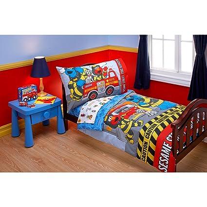 Bon Sesame Street Toddler Bedding Set Elmo Fire Department Bed