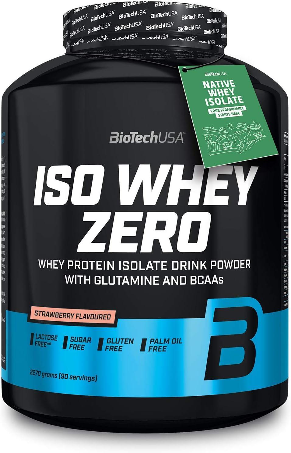 BioTechUSA Iso Whey Zero Premium Protein Isolat Polvo, 2270 g, fresa