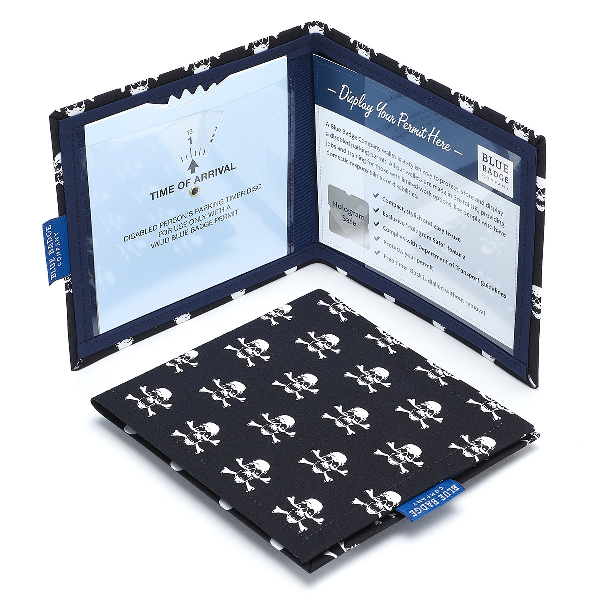Blue Badge Company - Funda para tarjetas de aparcamiento para discapacitados, diseño de estampado de calaveras pirata PIR-BLCT-6024