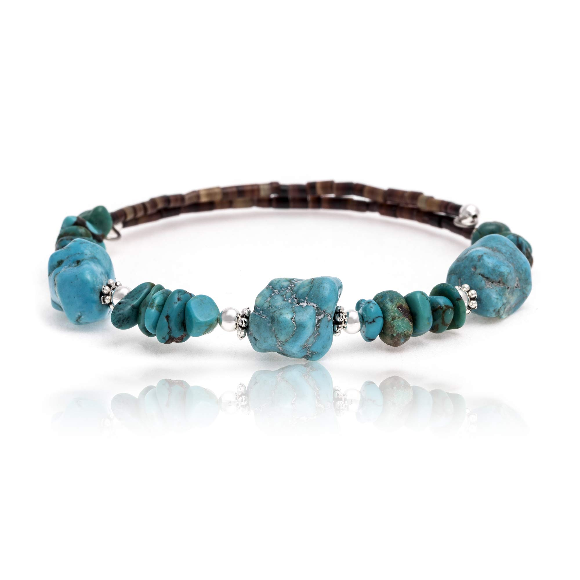 $100Tag Natural Turquoise Certified Navajo Native Adjustable Wrap Bracelet 12867 Made by Loma Siiva by Native-Bay