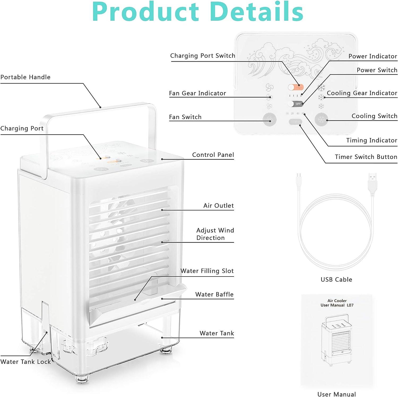 Evaporative Coolers 800 ML Water Tank Batlofty Portable Air ...